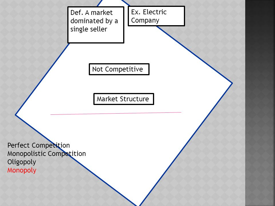 Barriers to entry- complete- there are no other companies entering the market  Variety of goods- none  Number of firms- one  Control over pricing- complete (only through gov't regulation)