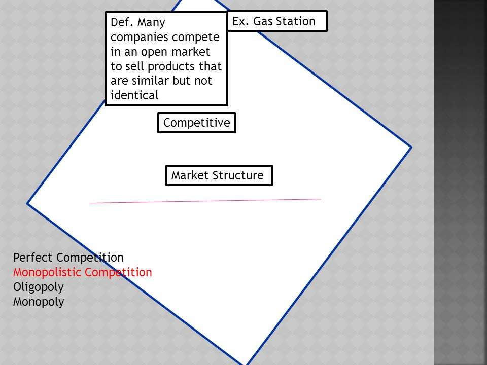  Defining Conditions A.Many firms B. Sell a variety of goods C.