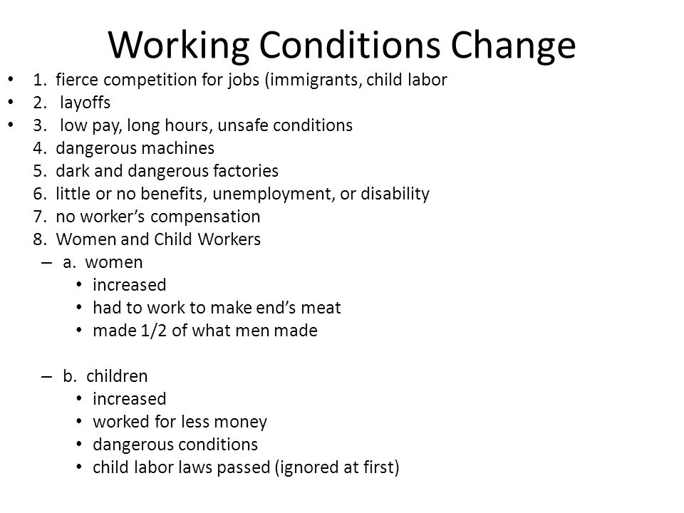 Effect #3: Workplace changes  1.Before IR: small business.