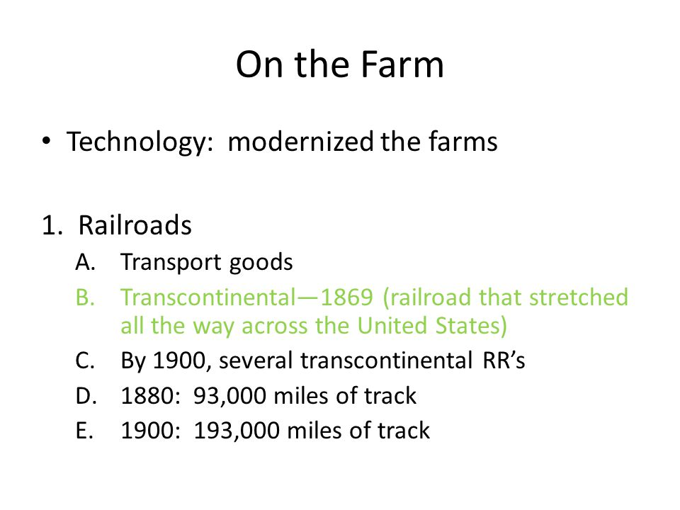 Section 2: Improved Farming Technology Content Elaboration: Mechanized farming also transformed the American economy. Production was made more efficie