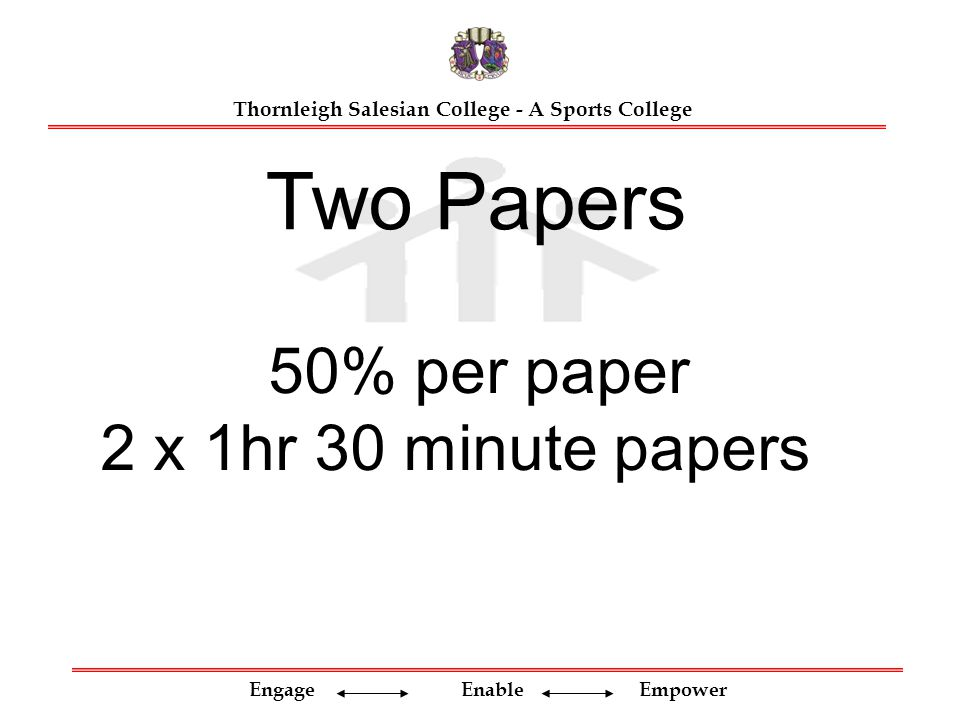 Engage Enable Empower Thornleigh Salesian College - A Sports College 50% per paper 2 x 1hr 30 minute papers Two Papers