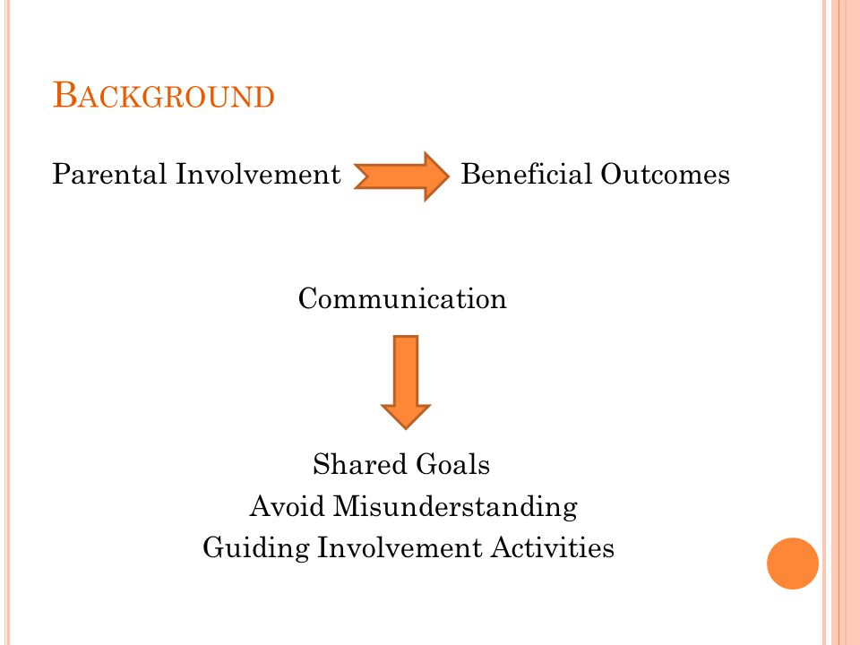 B ACKGROUND Parental Involvement Beneficial Outcomes Communication Shared Goals Avoid Misunderstanding Guiding Involvement Activities