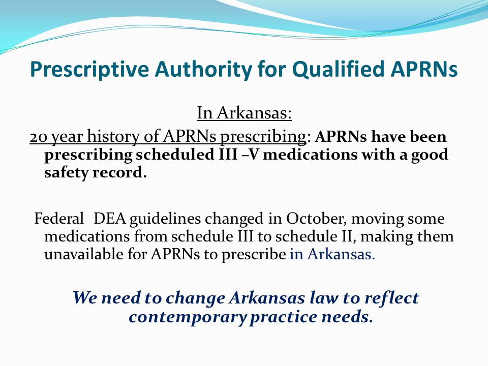 Prescriptive Authority for Qualified APRNs In Arkansas: 20 year history of APRNs prescribing: APRNs have been prescribing scheduled III –V medications