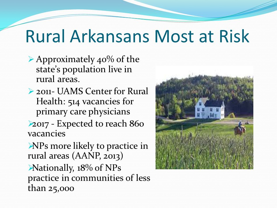 Rural Arkansans Most at Risk  Approximately 40% of the state's population live in rural areas.  2011- UAMS Center for Rural Health: 514 vacancies fo