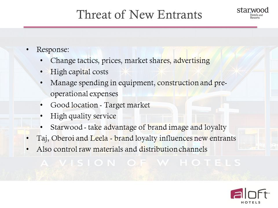 Threat of New Entrants Response: Change tactics, prices, market shares, advertising High capital costs Manage spending in equipment, construction and pre- operational expenses Good location - Target market High quality service Starwood - take advantage of brand image and loyalty Taj, Oberoi and Leela - brand loyalty influences new entrants Also control raw materials and distribution channels
