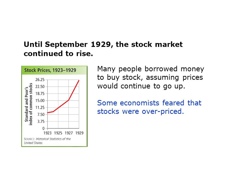 Until September 1929, the stock market continued to rise. Many people borrowed money to buy stock, assuming prices would continue to go up. Some econo