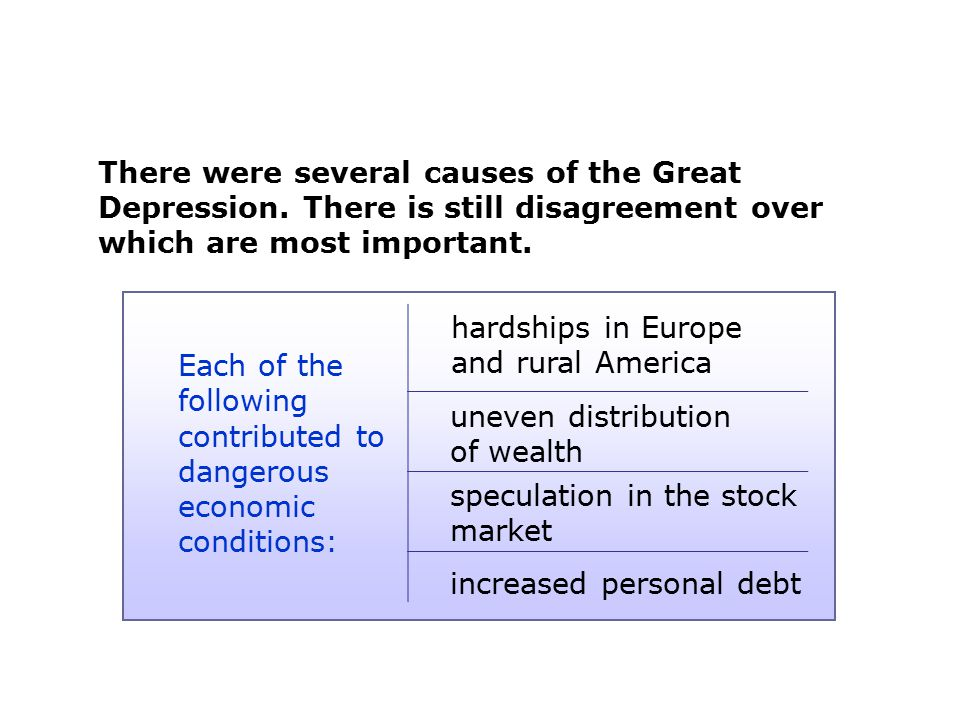 There were several causes of the Great Depression. There is still disagreement over which are most important. Each of the following contributed to dan