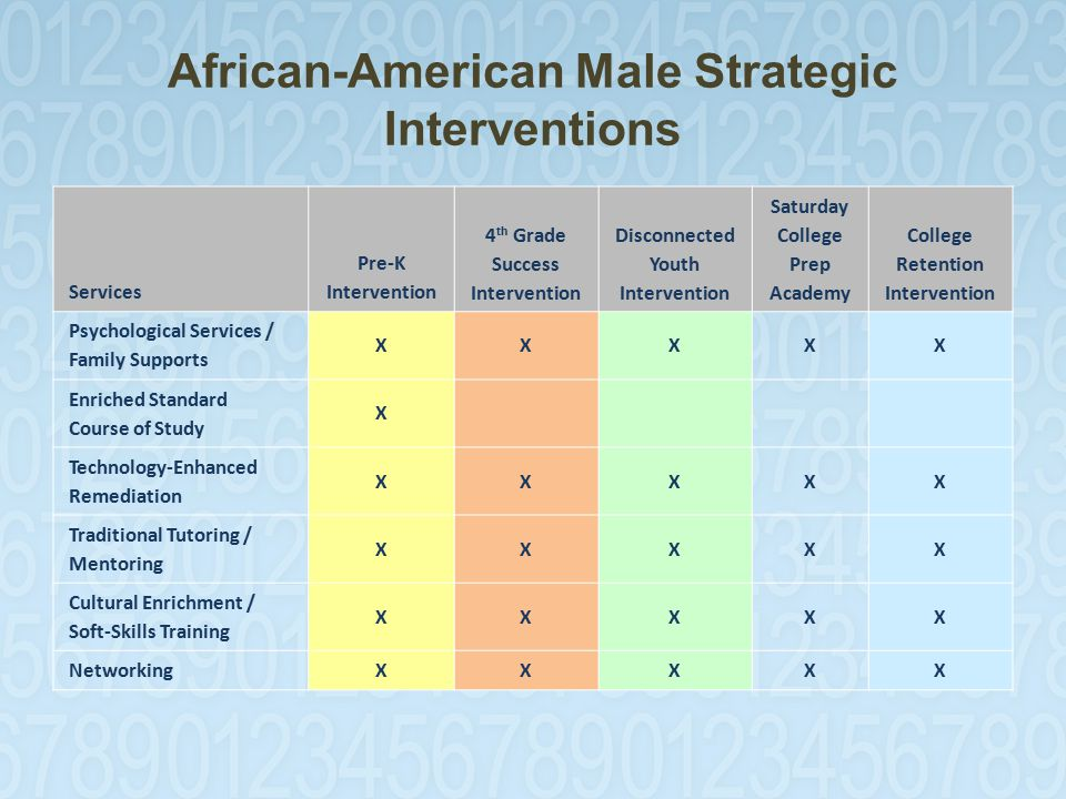 African-American Male Strategic Interventions Services Pre-K Intervention 4 th Grade Success Intervention Disconnected Youth Intervention Saturday College Prep Academy College Retention Intervention Psychological Services / Family Supports XXXXX Enriched Standard Course of Study X Technology-Enhanced Remediation XXXXX Traditional Tutoring / Mentoring XXXXX Cultural Enrichment / Soft-Skills Training XXXXX NetworkingXXXXX