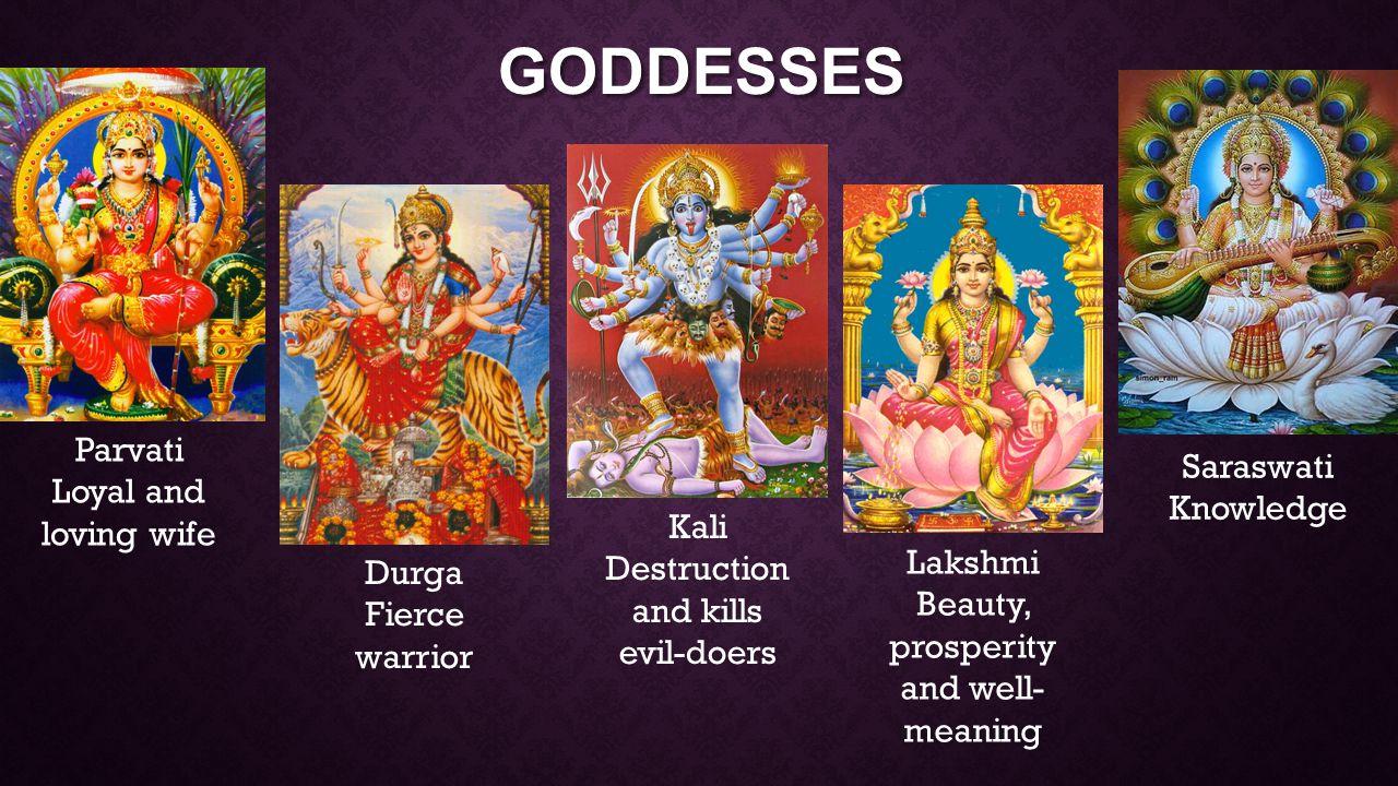 GODDESSES Parvati Loyal and loving wife Durga Fierce warrior Kali Destruction and kills evil-doers Lakshmi Beauty, prosperity and well- meaning Saraswati Knowledge