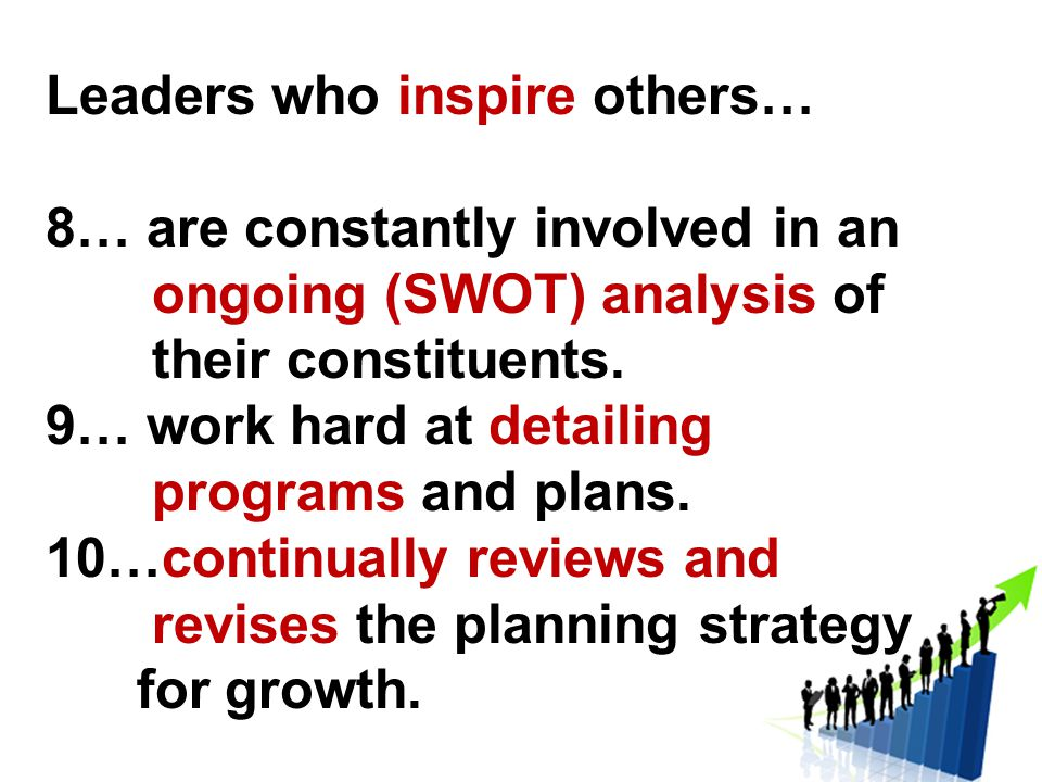 Leaders who inspire others… 8… are constantly involved in an ongoing (SWOT) analysis of their constituents.