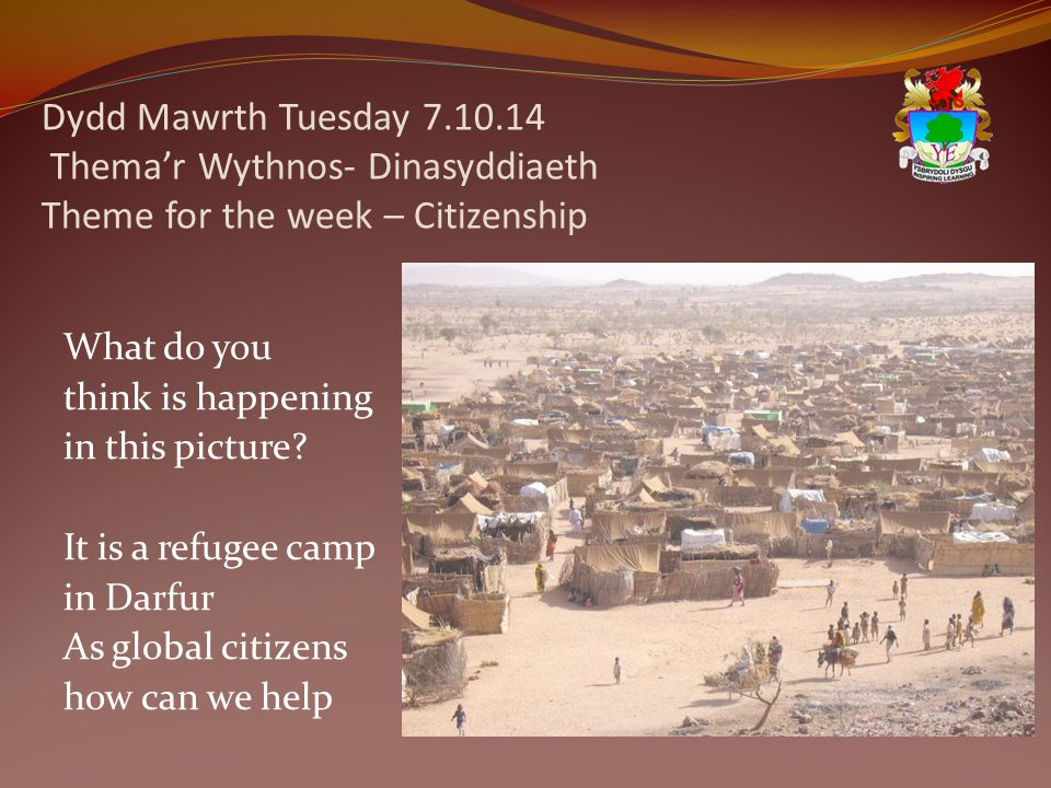 Dydd Mawrth Tuesday 7.10.14 Thema'r Wythnos- Dinasyddiaeth Theme for the week – Citizenship What do you think is happening in this picture.