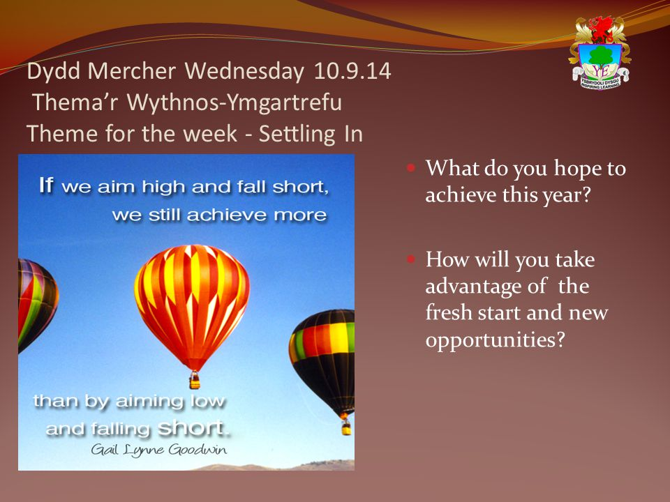 Dydd Mercher Wednesday 10.9.14 Thema'r Wythnos-Ymgartrefu Theme for the week - Settling In What do you hope to achieve this year.