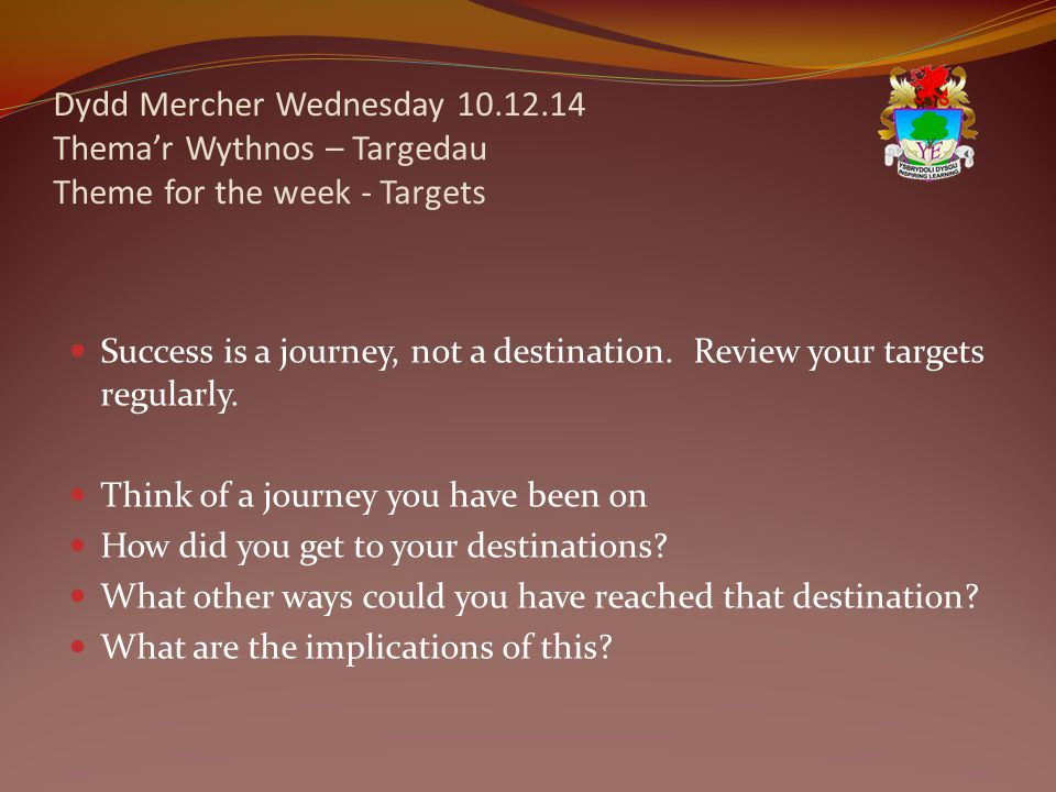 Dydd Mercher Wednesday 10.12.14 Thema'r Wythnos – Targedau Theme for the week - Targets Success is a journey, not a destination.