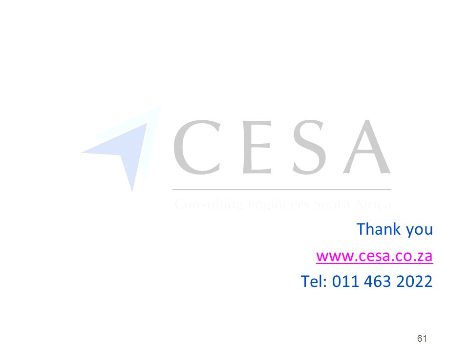 Thank you www.cesa.co.za Tel: 011 463 2022 61