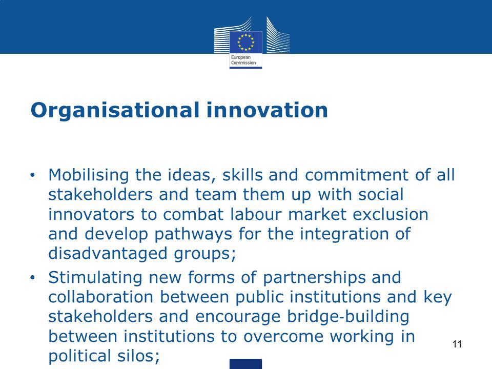 Organisational innovation 11 Mobilising the ideas, skills and commitment of all stakeholders and team them up with social innovators to combat labour market exclusion and develop pathways for the integration of disadvantaged groups; Stimulating new forms of partnerships and collaboration between public institutions and key stakeholders and encourage bridge ‐ building between institutions to overcome working in political silos;