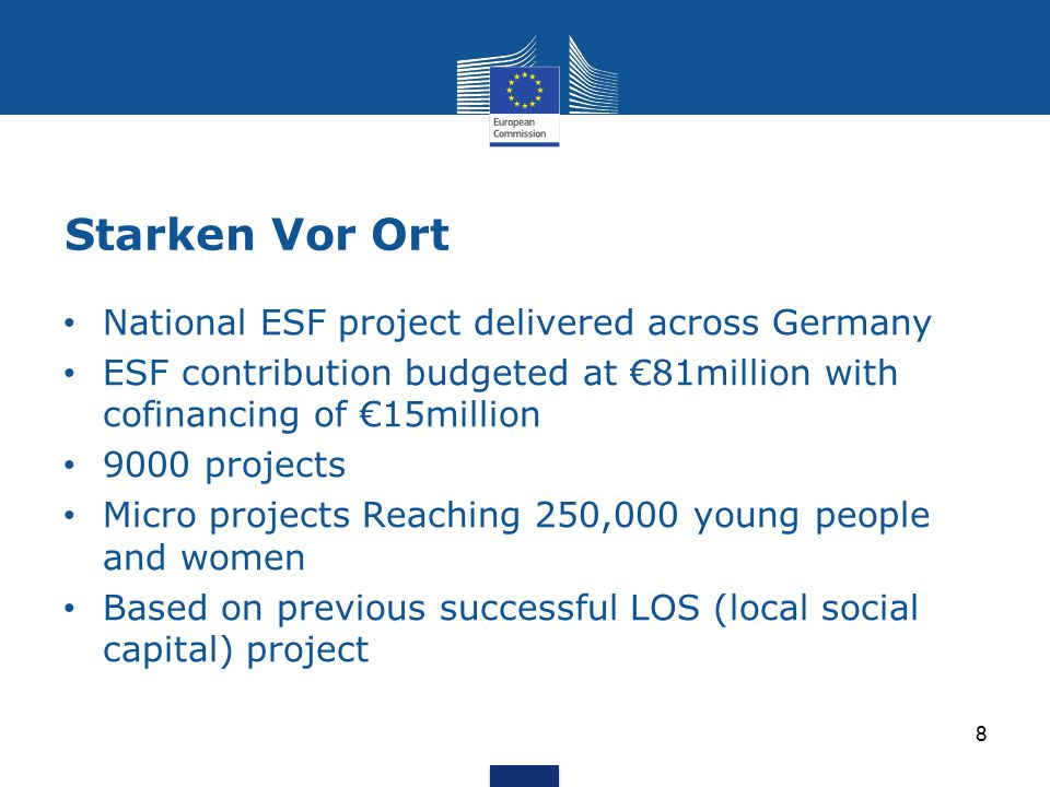 Starken Vor Ort 8 National ESF project delivered across Germany ESF contribution budgeted at €81million with cofinancing of €15million 9000 projects Micro projects Reaching 250,000 young people and women Based on previous successful LOS (local social capital) project