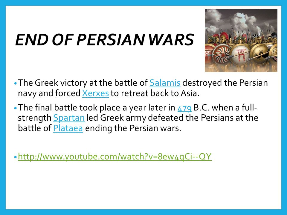 The Greek victory at the battle of Salamis destroyed the Persian navy and forced Xerxes to retreat back to Asia.