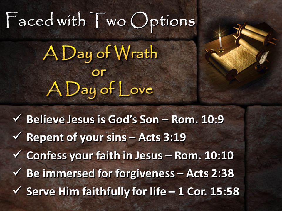Believe Jesus is God's Son – Rom.10:9 Believe Jesus is God's Son – Rom.