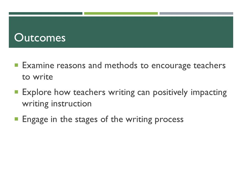 Why Should Teachers Write.