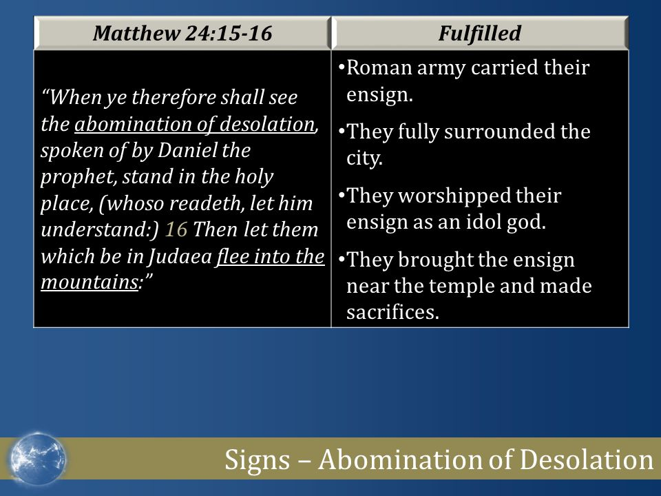 """Signs – Abomination of Desolation Matthew 24:15-16Fulfilled """"When ye therefore shall see the abomination of desolation, spoken of by Daniel the prophe"""