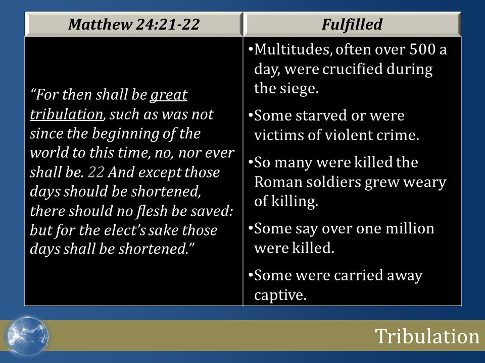 """Tribulation Matthew 24:21-22Fulfilled """"For then shall be great tribulation, such as was not since the beginning of the world to this time, no, nor eve"""