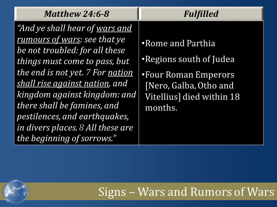"""Signs – Wars and Rumors of Wars Matthew 24:6-8Fulfilled """"And ye shall hear of wars and rumours of wars: see that ye be not troubled: for all these thi"""
