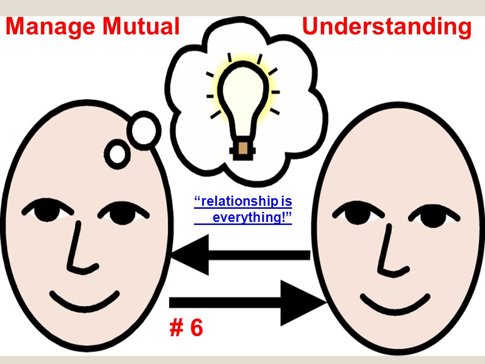 "Manage Mutual Understanding # 6 ""relationship is everything!"""