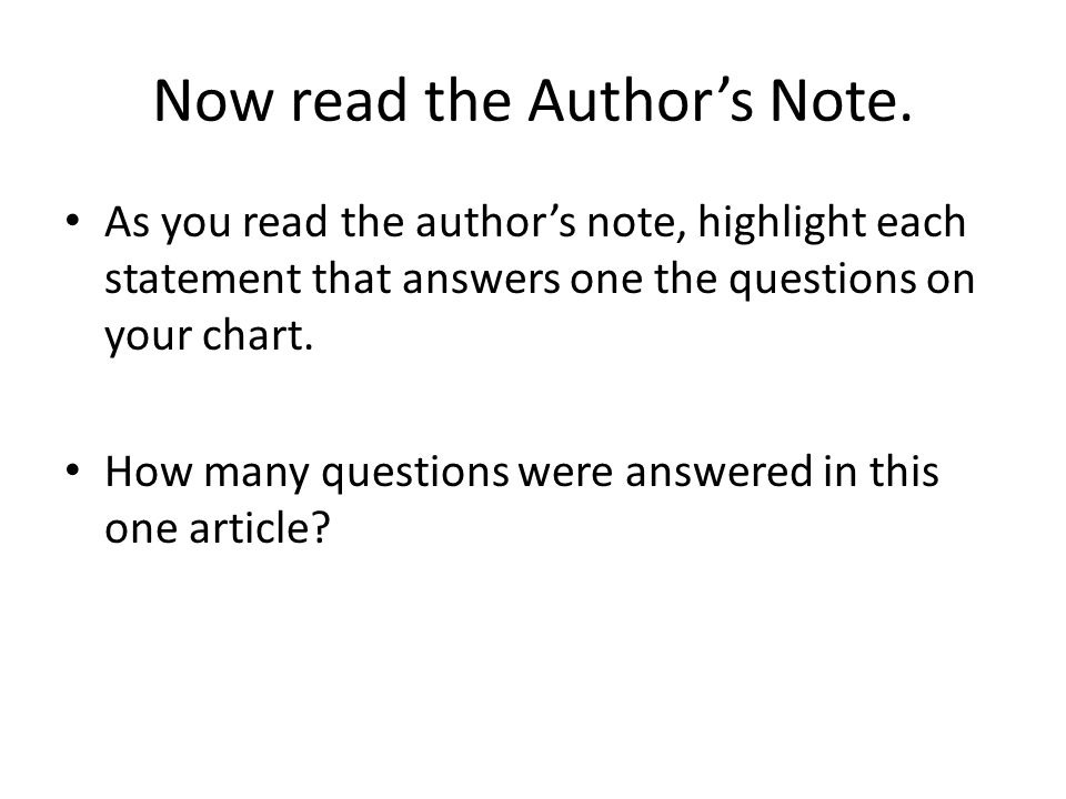 Now read the Author's Note.