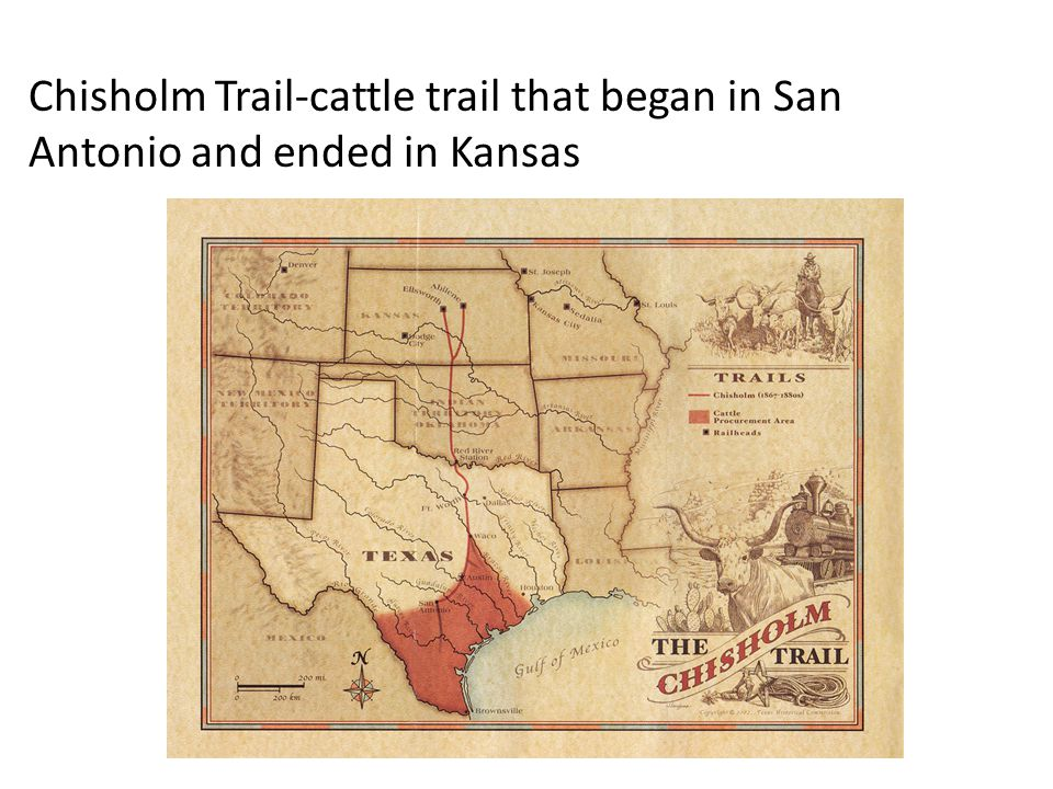 Chisholm Trail-cattle trail that began in San Antonio and ended in Kansas