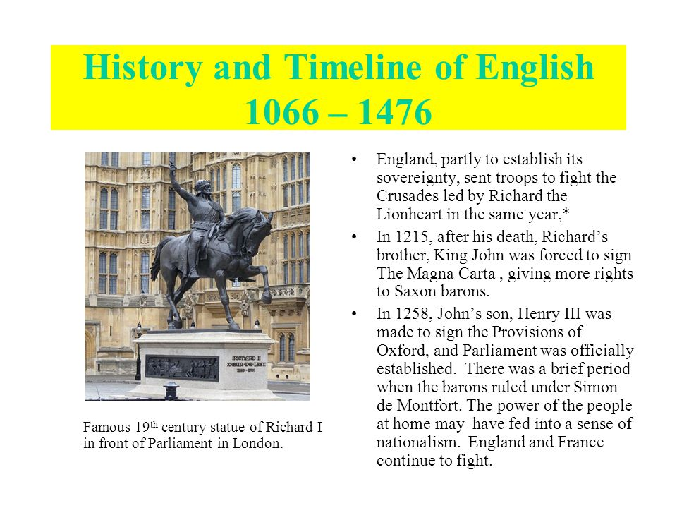 Famous 19 th century statue of Richard I in front of Parliament in London.