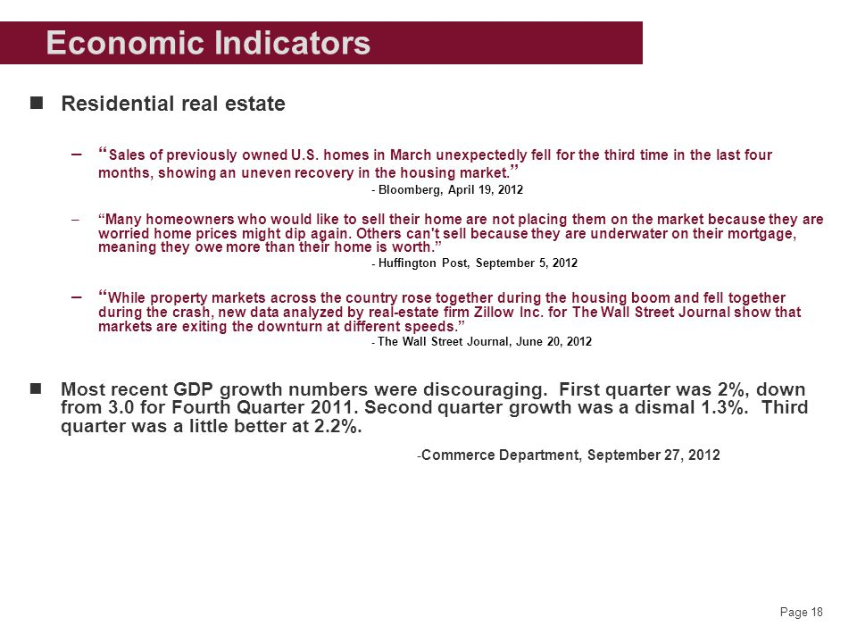 Page 18 Economic Indicators Residential real estate – Sales of previously owned U.S.
