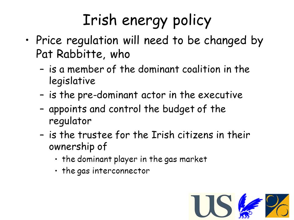 Irish energy policy Price regulation will need to be changed by Pat Rabbitte, who –is a member of the dominant coalition in the legislative –is the pre-dominant actor in the executive –appoints and control the budget of the regulator –is the trustee for the Irish citizens in their ownership of the dominant player in the gas market the gas interconnector
