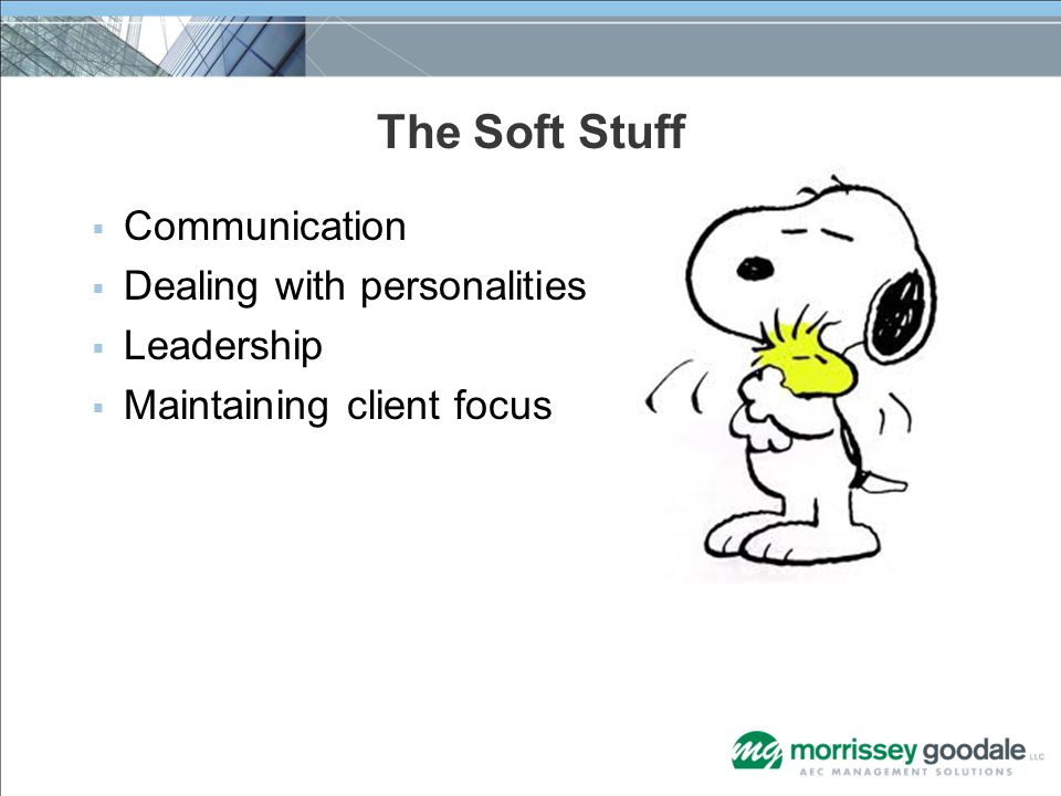 The Soft Stuff  Communication  Dealing with personalities  Leadership  Maintaining client focus