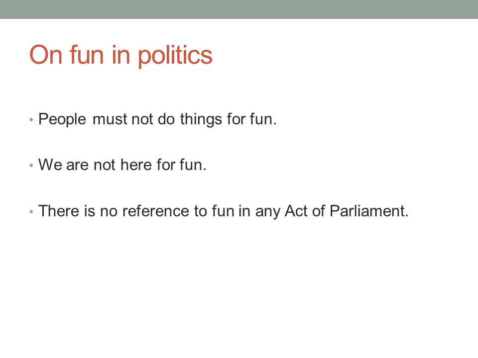 On fun in politics People must not do things for fun.