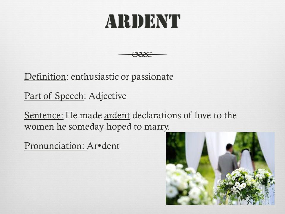Ardent Definition: enthusiastic or passionate Part of Speech: Adjective Sentence: He made ardent declarations of love to the women he someday hoped to marry.