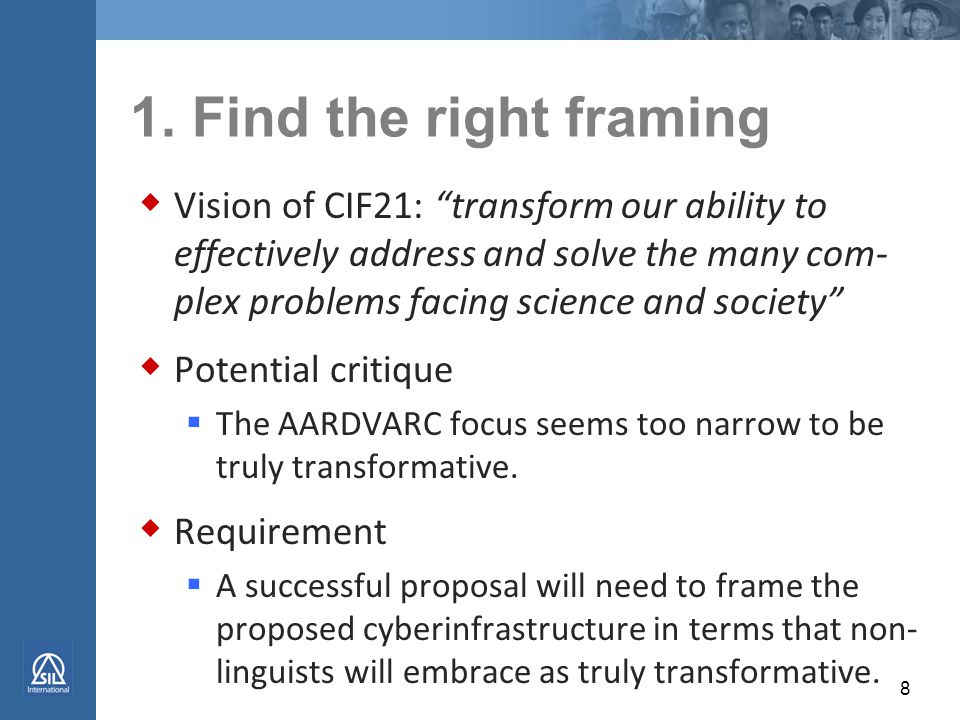 Critiques we want to avoid 1. The focus seems too narrow to be truly transformative.
