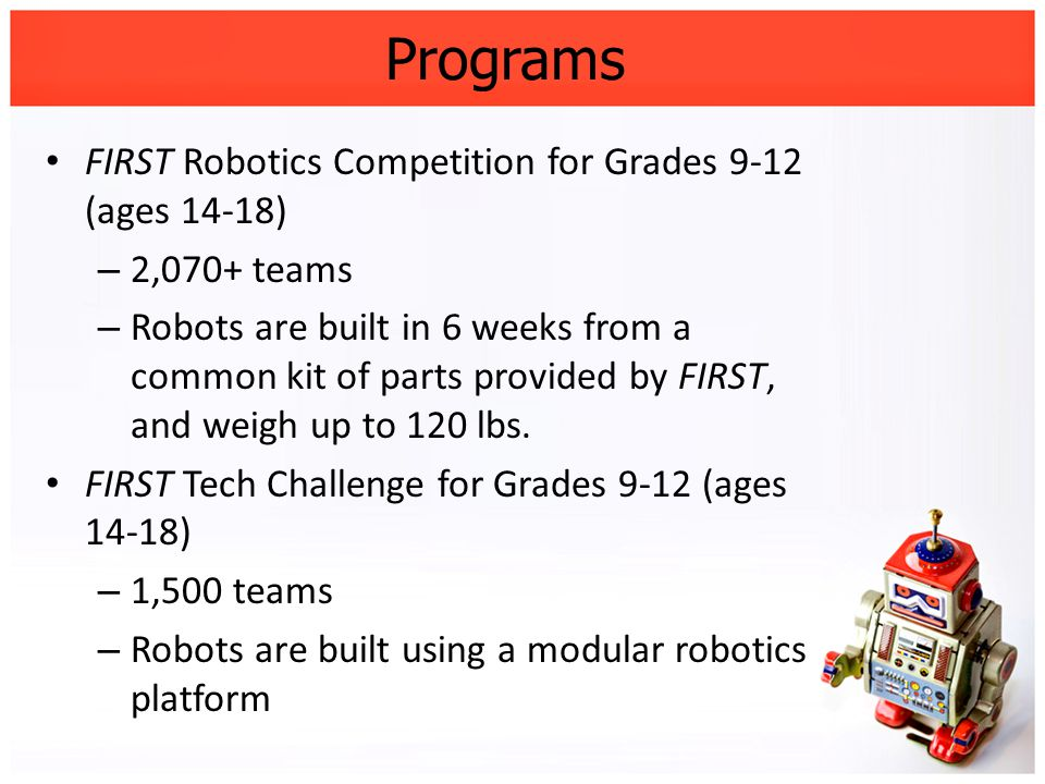 Programs FIRST Robotics Competition for Grades 9-12 (ages 14-18) – 2,070+ teams – Robots are built in 6 weeks from a common kit of parts provided by F