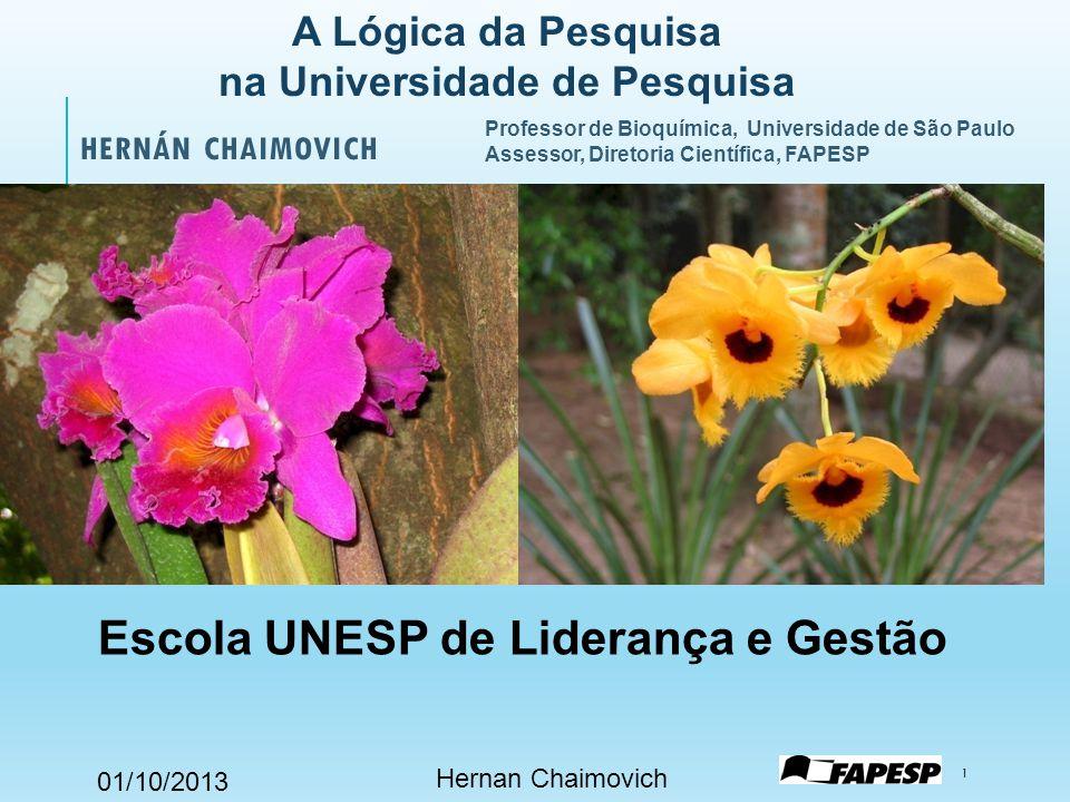 01/10/2013 Professor de Bioquímica, Universidade de São Paulo Assessor, Diretoria Científica, FAPESP HERNÁN CHAIMOVICH Hernan Chaimovich 1 Escola UNES