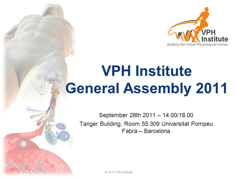 © 2011 VPH Institute Agenda 14:00 – 15:00Peter Hunter (University of Auckland) Description of the statutory process presentation of the statute presentation of Management and of the first Board of Directors 15:00 – 15:30Martina Contin (Manager, VPH Institute) Ratification of the 2012 membership presentation of the services to the members 15:30 – 16:30Marco Viceconti (University of Sheffield) Presentation of the Business plan 2011-2013 Preliminary Budget 2012 Proposal for 2013 membership fees 16:30 – 17:00Nicholas Ayache (INRIA) Presentation of the electoral procedure 17:00 – 18:00Marco Viceconti (University of Sheffield) Presentation of the position on Horizon 2020 2