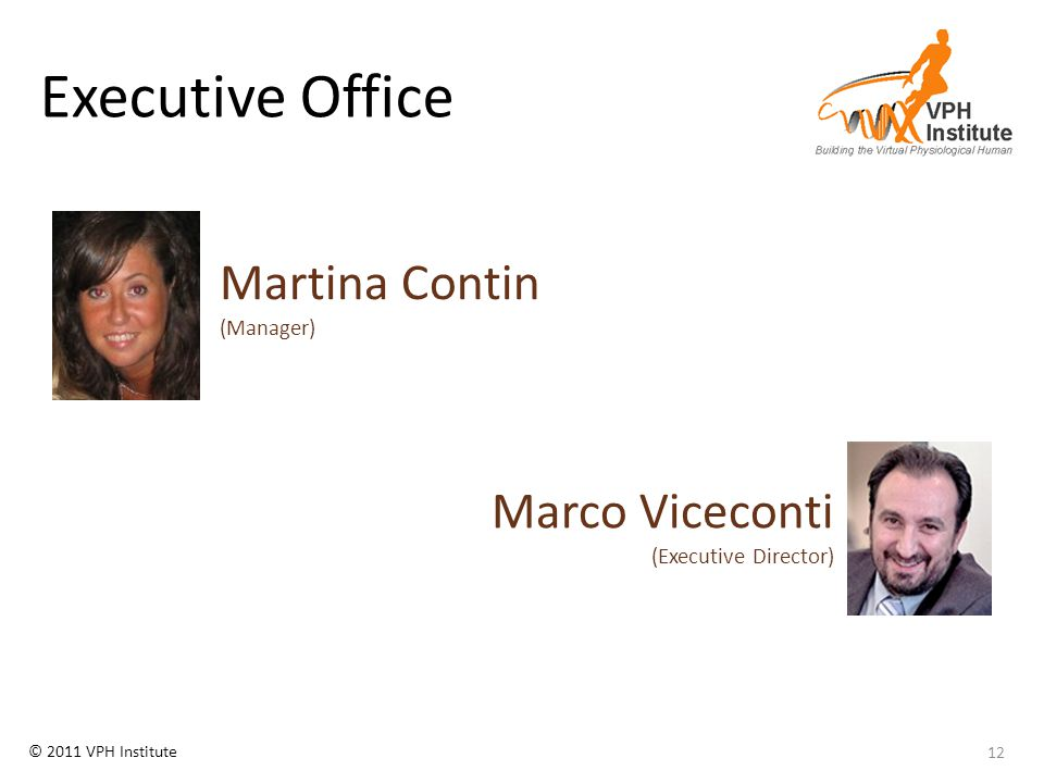 © 2011 VPH Institute Executive Office 12 Martina Contin (Manager) Marco Viceconti (Executive Director)