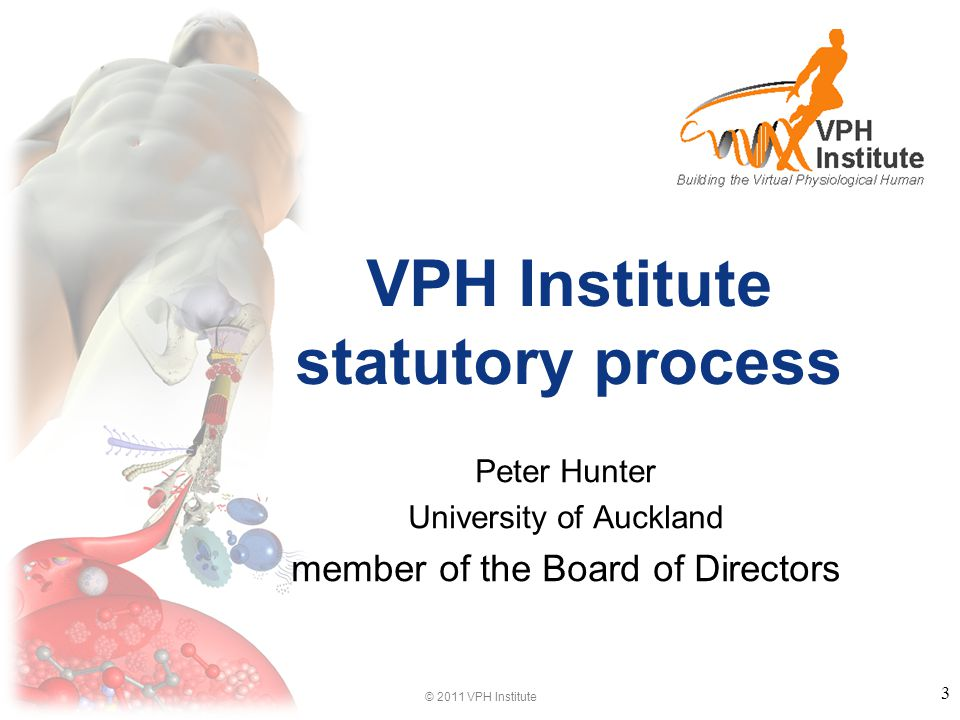 © 2011 VPH Institute VPH Institute statutory process Peter Hunter University of Auckland member of the Board of Directors 3