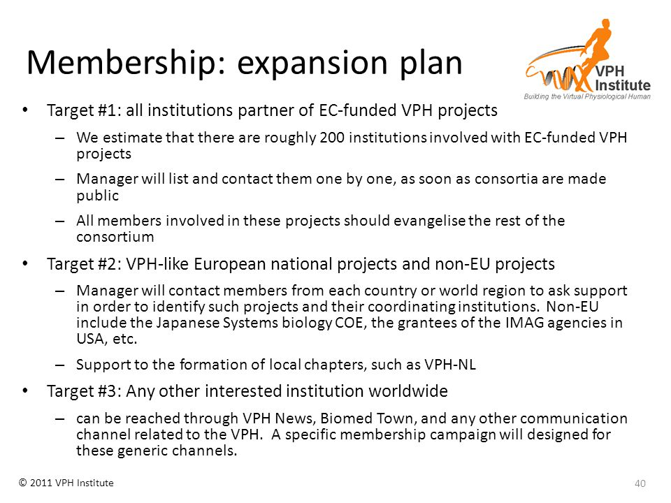 © 2011 VPH Institute Membership: expansion plan Target #1: all institutions partner of EC-funded VPH projects – We estimate that there are roughly 200