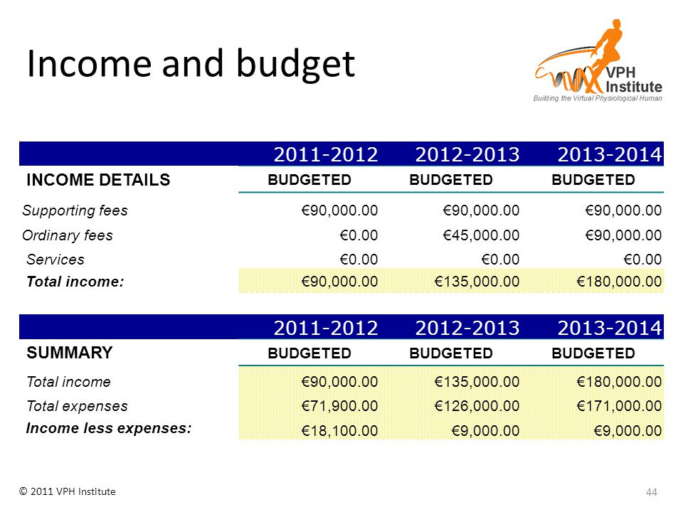 © 2011 VPH Institute Income and budget 44 2011-20122012-20132013-2014 INCOME DETAILS BUDGETED Supporting fees€90,000.00 Ordinary fees€0.00€45,000.00€9