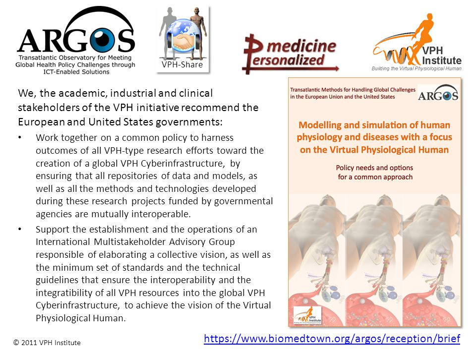 © 2011 VPH Institute ARGOS We, the academic, industrial and clinical stakeholders of the VPH initiative recommend the European and United States gover