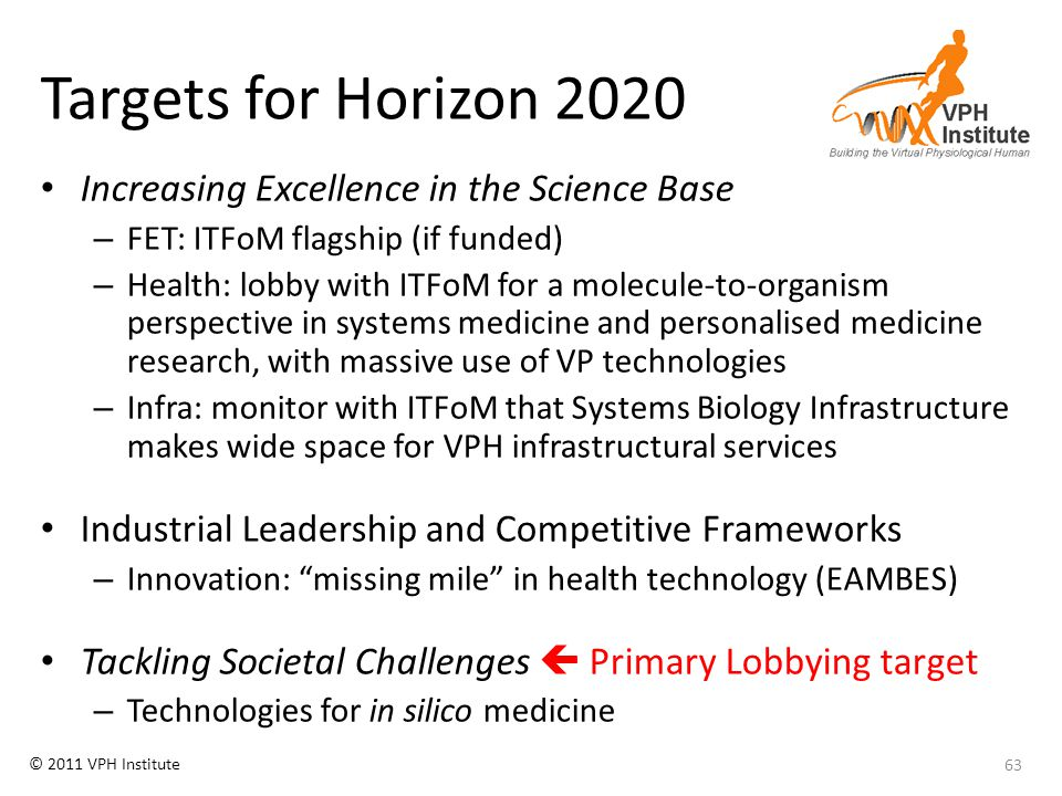 © 2011 VPH Institute Targets for Horizon 2020 Increasing Excellence in the Science Base – FET: ITFoM flagship (if funded) – Health: lobby with ITFoM f