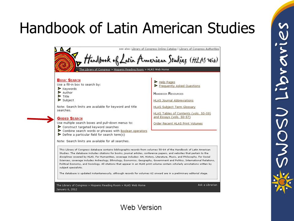 Handbook of Latin American Studies Web Version