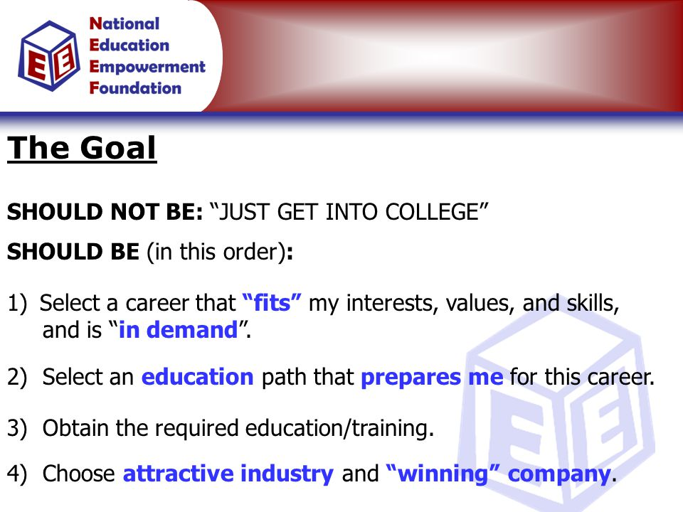 "The Goal SHOULD NOT BE: ""JUST GET INTO COLLEGE"" SHOULD BE (in this order): 4) Choose attractive industry and ""winning"" company. 1) Select a career tha"