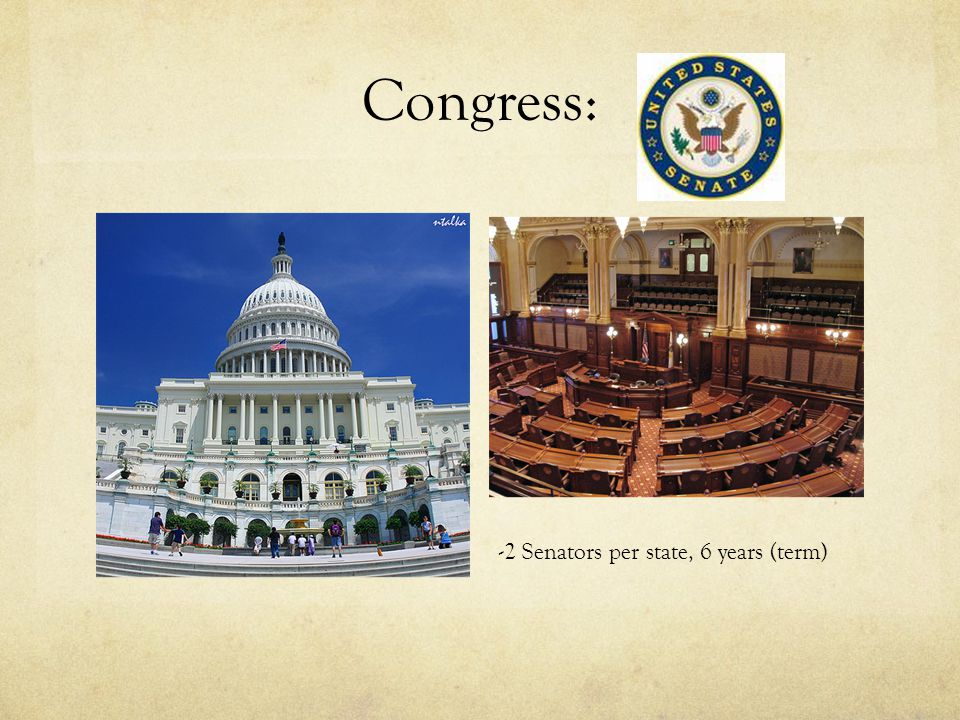 Congress: -2 Senators per state, 6 years (term)