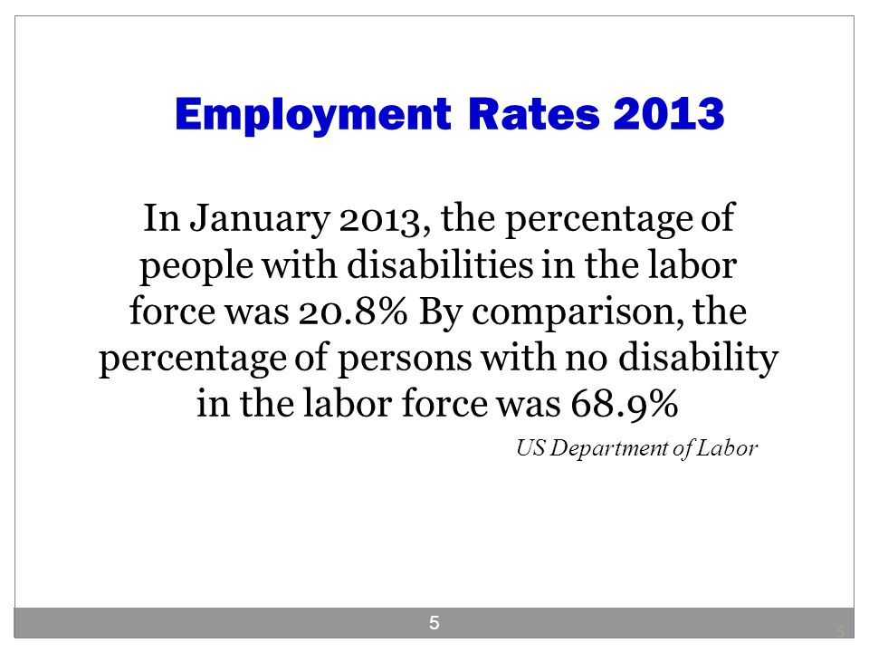 Employment Rates 2013 In January 2013, the percentage of people with disabilities in the labor force was 20.8% By comparison, the percentage of persons with no disability in the labor force was 68.9% US Department of Labor 5 5