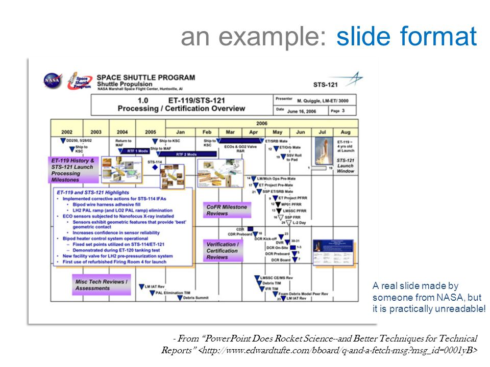 an example: slide format - From PowerPoint Does Rocket Science--and Better Techniques for Technical Reports A real slide made by someone from NASA, but it is practically unreadable!